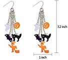 mazhan Halloween orecchini pendenti Set per bambini e bambine donna pipistrello nero pumpkim fantasma gatto lungo nappa orecchini a cerchio, confezione da 2paia