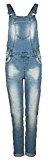 Salopette di jeans da donna Fresh Made | Jeans con taglio boyfriend con lavaggio stone washed ed effetto used
