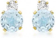 Carissima Gold - Orecchini a Perno da Donna in Oro Giallo 9K (375) con Topazio Blu