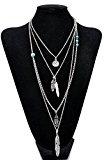 Lureme® più collana Catena strati testa rotonda piume ritratto ciondolo in metallo (01003379-2) argento antico
