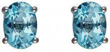 Ivy Gems Donna 9 carati oro bianco Ovale blu Topazio FINEEARRING