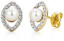 Miore -Orecchini in oro giallo 9 carati con perle e cristalli Swarovski