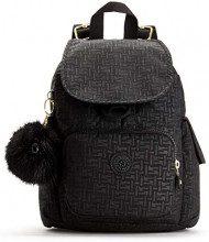 Kipling City Pack Mini - Zaini Donna, Nero (Black Pylon Emb), 14x27x29 cm (B x H T)