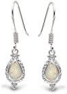 Bling Jewelry Vintage Style Cable Teardrop White Opal Orecchini 925