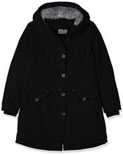 Urban Classics Ladies Garment Washed Long Parka, Donna, Nero (Black 00007), XX-Large