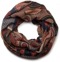 styleBREAKER sciarpa scaldacollo con design etnico, cerchi colorati e pois 01016012, colore:Marrone-Beige-Blu, material:materiale standard