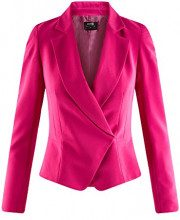 oodji Collection Donna Blazer Aderente con Chiusura Asimmetrica, Rosa, IT 42 / EU 38 / S