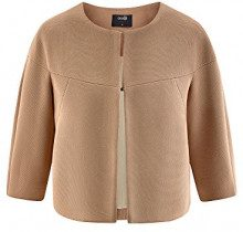 oodji Ultra Donna Blazer Largo con Gancetti, Beige, IT 46 / EU 42 / L