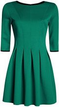 oodji Ultra Donna Abito in Maglia con Gonna a Pieghe, Verde, IT 44 / EU 40 / M
