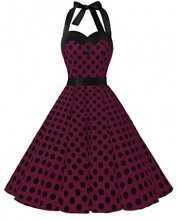 Dressystar, vestito a fiori da cocktail party con fascia in vita, stile retrò/rockabilly anni '50 - '60 burgundy black dot Small