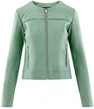 oodji Ultra Donna Giacca in Ecopelle con Strass Metallici, Verde, IT 44 / EU 40 / M