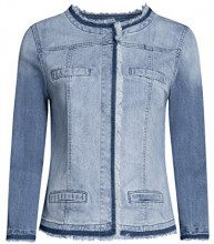 oodji Ultra Donna Giacca in Jeans con Bottoni Automatici, Blu, IT 44 / EU 40 / M