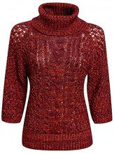 oodji Collection Donna Maglione con Lurex e Collo a Scialle, Rosso, IT 44 / EU 40 / M