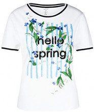 Marc Cain Collections T-Shirts, T-Shirt Donna, Bianco (White 100), 42 (Taglia Produttore: 2)