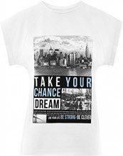 oodji Ultra Donna T-Shirt con Stampa con Orlo Grezzo, Bianco, IT 42 / EU 38 / S
