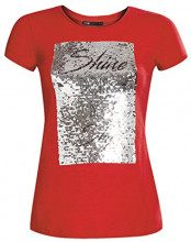 oodji Ultra Donna T-Shirt con Paillettes, Rosso, IT 42 / EU 38 / S