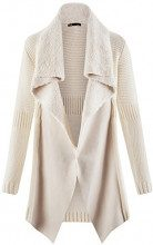 oodji Collection Donna Cardigan con Dettagli in Pelliccia Sintetica, Bianco, 38cm / IT 48 / EU 44 / XL