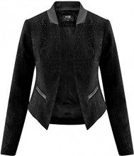 oodji Collection Donna Blazer Aperto con Finitura in Ecopelle, Nero, IT 42 / EU 38 / S