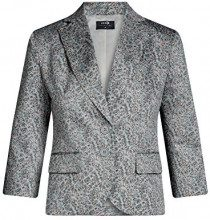 oodji Collection Donna Blazer Aderente in Cotone, Grigio, IT 46 / EU 42 / L