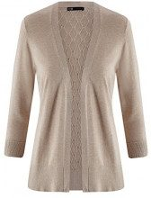 oodji Collection Donna Cardigan Lavorato a Maglia con Retro Traforato, Beige, IT 40 / EU 36 / XS