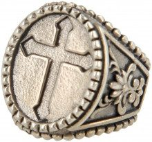 Anello Argento 925 Croce Cristiana In Cornice Ovale Con Giglio