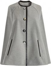 oodji Collection Donna Poncho con Bottoni e Collo Rotondo, Grigio, IT 42 / EU 38 / S