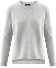 oodji Collection Donna Maglione con Girocollo e Orlo Asimmetrico, Grigio, IT 42 / EU 38 / S