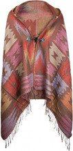 styleBREAKER poncho in design etnico azteco con cappuccio e laccetto di chiusura, mantellina, donna 08010006, colore:Talpa-Rosso-Giallo