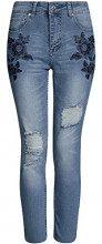 oodji Ultra Donna Jeans Slim Fit con Ricami sulle Tasche, Blu, 27W / 32L (IT 42 / EU 38 / S)