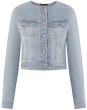 oodji Ultra Donna Giacca in Jeans Senza Colletto, Blu, IT 42 / EU 38 / S