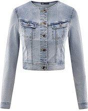 oodji Ultra Donna Giacca in Jeans Corta, Blu, IT 42 / EU 38 / S