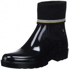 Tommy Hilfiger Knitted Sock Rain Boot, Stivali di Gomma Donna, Nero (Black 990), 40 EU