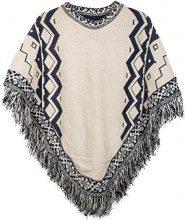 styleBREAKER Poncho in Maglia con Motivo Azteco e Frange, Girocollo, Maglia fine, Donna 08010013, Colore:Beige-Blu Scuro
