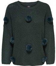 Only Onlkiki 7/8 Pullover Knt, Felpa Donna, Verde (Green Gables Detail:W Tone Fake Fur Pom POMS), 44 (Taglia Produttore: Medium)