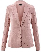 oodji Collection Donna Donna Blazer Basic Aderente, Rosa, IT 48 / EU 44 / XL