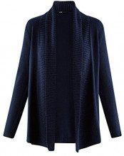 oodji Collection Donna Cardigan Lavorato a Maglia Senza Chiusura, Blu, IT 38 / EU 34 / XXS