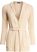 oodji Collection Donna Cardigan con Cintura e Cappuccio, Avorio, IT 42 / EU 38 / S