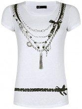 oodji Ultra Donna T-Shirt Stampata, Bianco, IT 46 / EU 42 / L