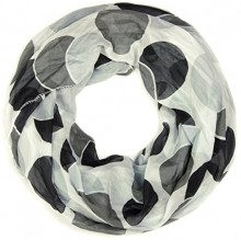 styleBREAKER sciarpa scaldacollo leggera retro a pois 01014040, colore:Bianco-Nero-Grigio