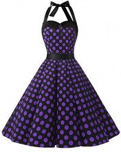 Dressystar, vestito a fiori da cocktail party con fascia in vita, stile retrò/rockabilly anni '50 - '60 Black Purple Dot Small