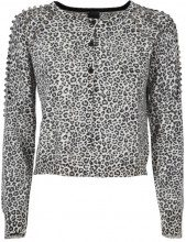 Cardigan corto con decorazioni in strass CZ2ECRU/NERO