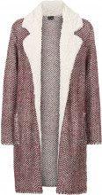 Giaccone in maglia con pellicciotto di pile