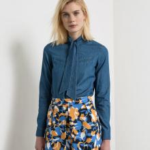 Camicia lavallière a maniche lunghe in denim