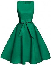 FAIRY COUPLE 50s Retro Fiori Cocktail Schwingen Party Vestito con Arco DRT017 Verde S