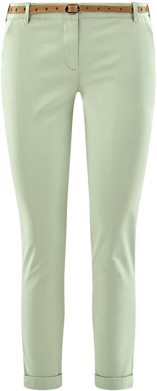 7f72f8fb85 oodji Ultra Donna Pantaloni Chino con Cintura a Stelle, Verde, IT 44 ...