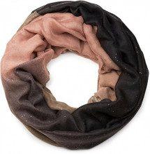 styleBREAKER raffinata sciarpa ad anello glitter con motivo colorato, sciarpa glitter, paillettes, sciarpa, foulard, donna 01017033, colore:Nero-Marrone-Rosa