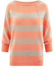 oodji Collection Donna Maglione in Mohair a Righe, Arancione, IT 42 / EU 38 / S