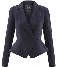 oodji Collection Donna Blazer Aderente con Chiusura Asimmetrica, Blu, IT 48 / EU 44 / XL