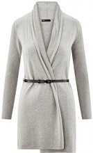 oodji Collection Donna Cardigan Senza Chiusura con Cintura, Grigio, IT 40 / EU 36 / XS