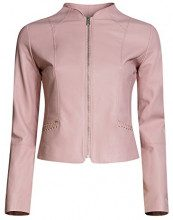 oodji Ultra Donna Giacca in Ecopelle con Zip, Rosa, IT 40 / EU 36 / XS